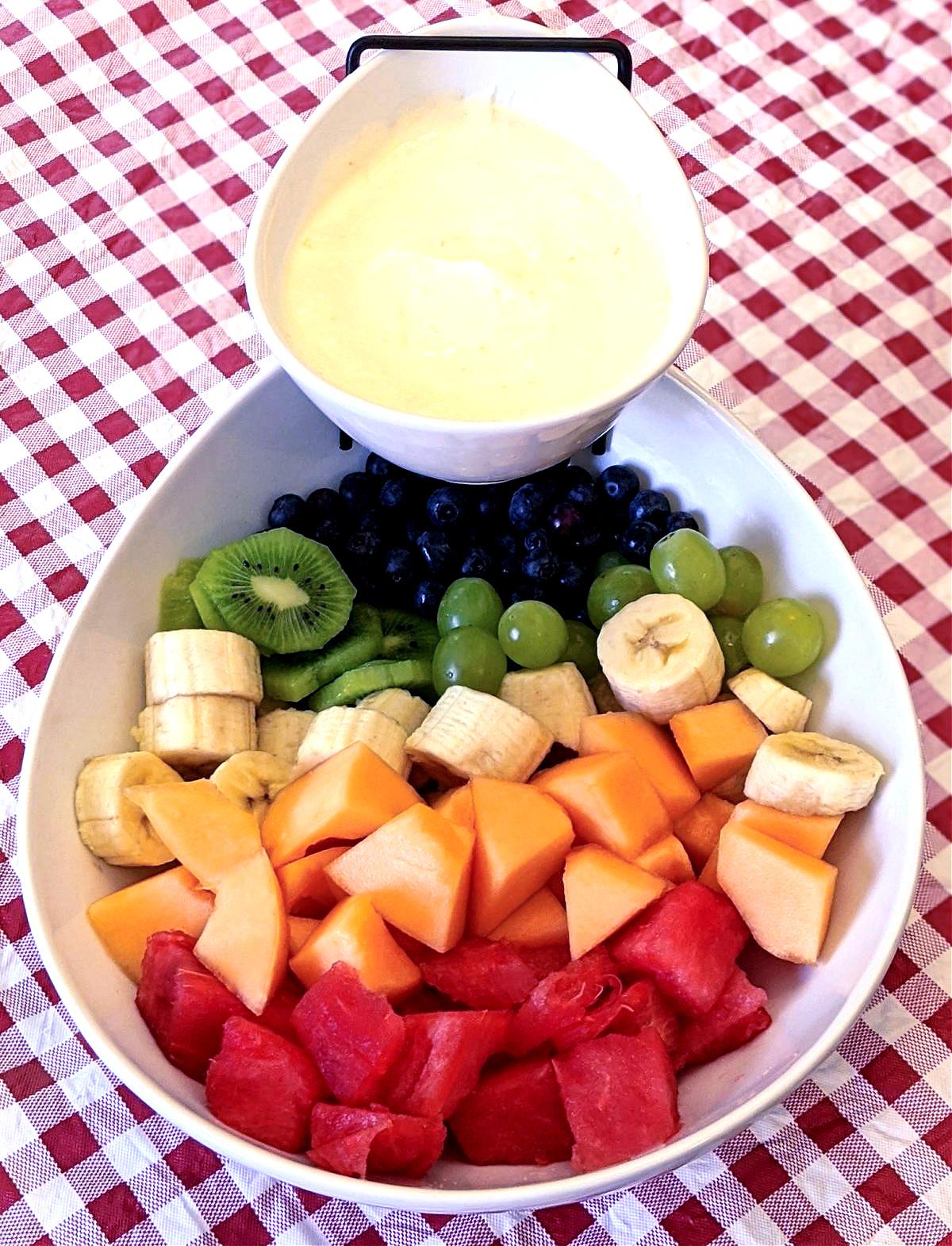 fruit salad with fruit dip
