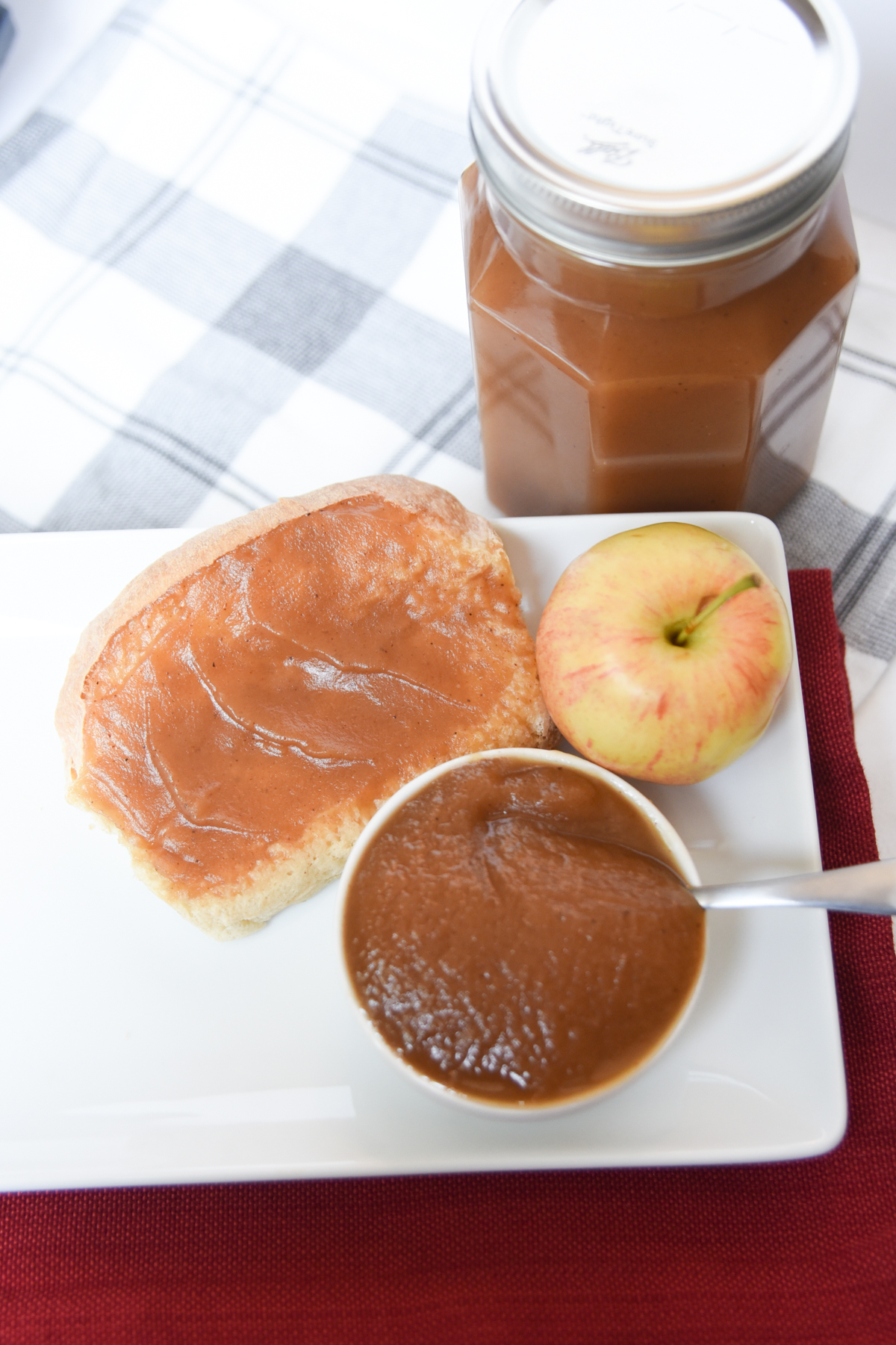 apple butter spread on toast on a plate
