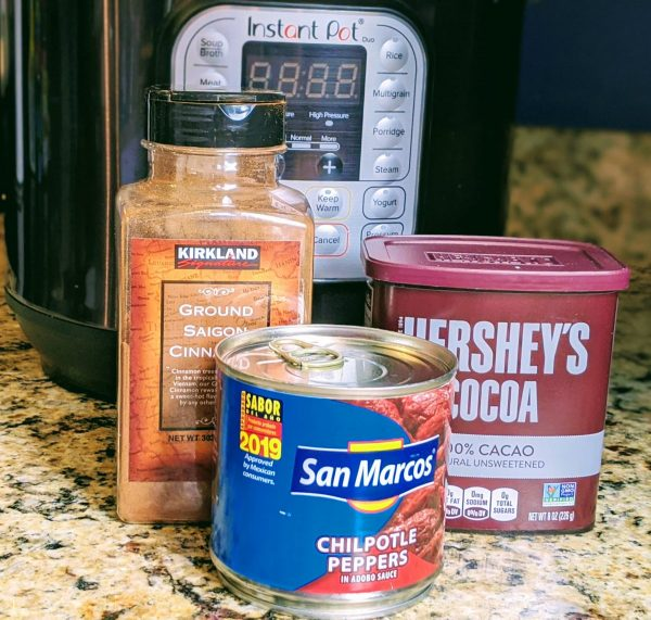 chipotle peppers, cocoa, and cinnamon