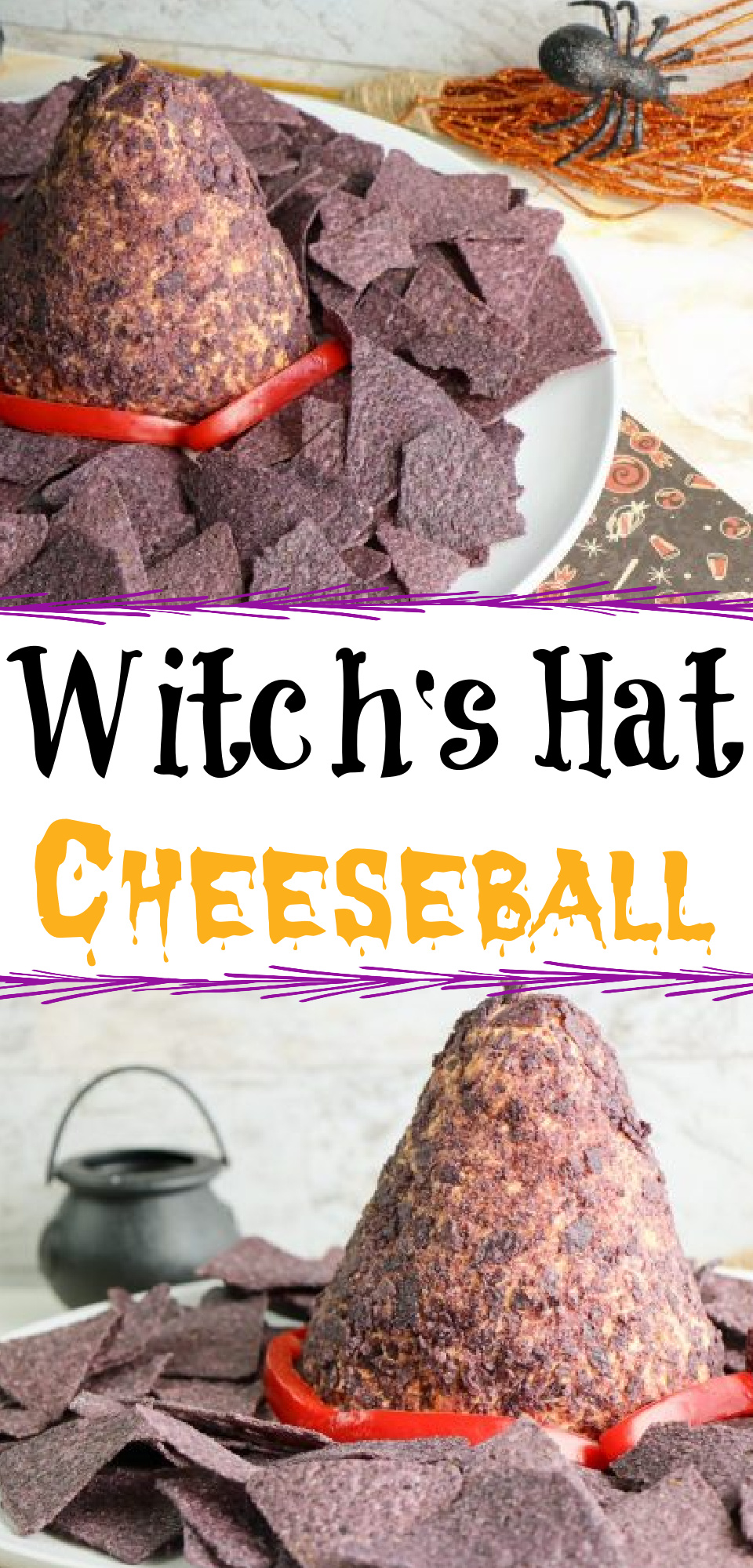 This is such a fun Halloween food idea that is great for the whole family! This homemade cheese ball in the shape of a witch hat will be the talk of your Halloween party! This Halloween cheese ball is so easy and delicious too! via @simplysidedishes89