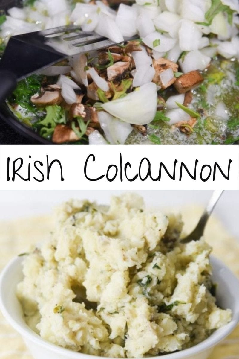 Irish Colcannon potatoes are a savory combination of potatoes, kale, onion, and mushroom made into a creamy mash with the help of a generous serving of butter and cream. via @simplysidedishes89