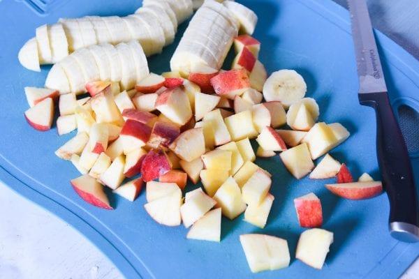 chopped apples and bananas