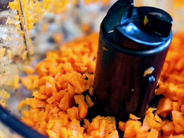 chopped veggies in food processor