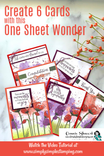 Beautiful One Sheet Wonder | 6 Peaceful Poppies Cards