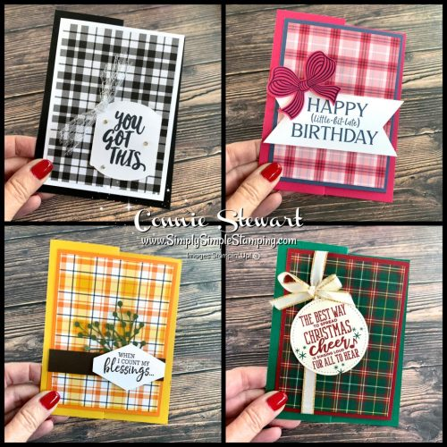 4 Fancy fold cards you can make in 5 minutes with the Stampin' Up! Plaid Tidings