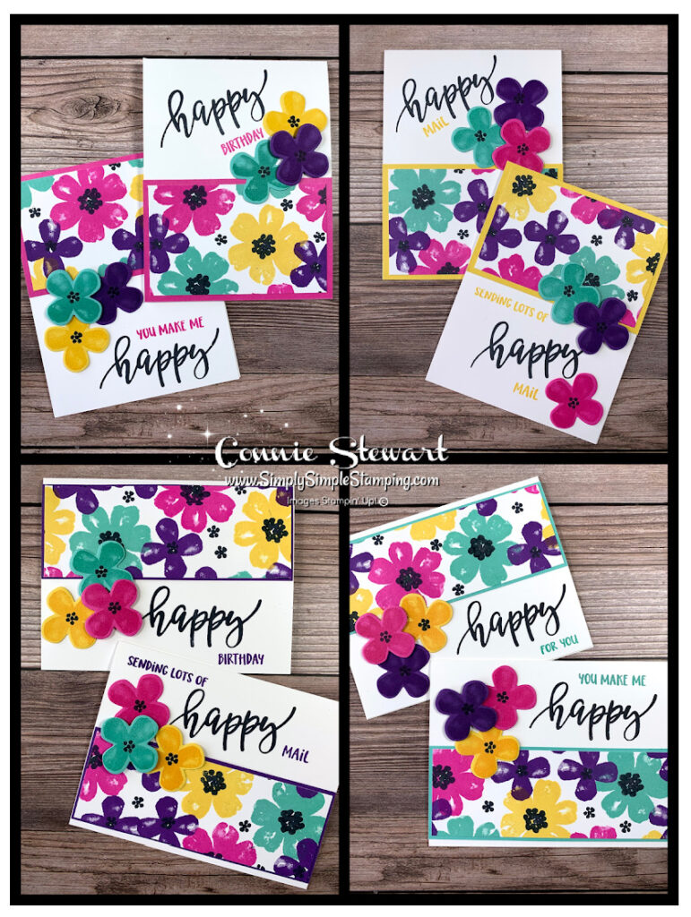 I made these 8 greeting cards for women but you can easily change the stamps and make some for the men in your lifel