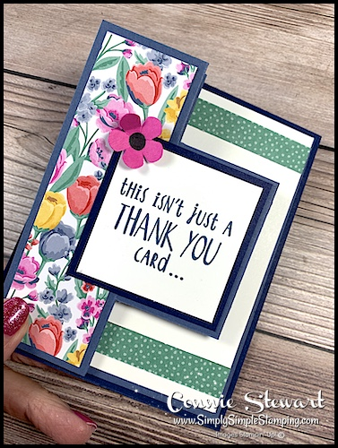 I made this pop out fun fold card with floral designer paper on navy blue cardstock