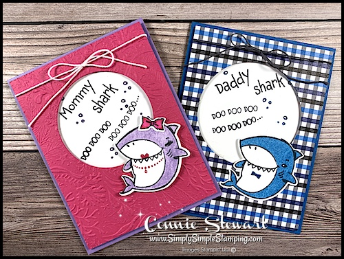 Adorable baby shower cards for a baby boy or baby girl in a baby shark theme