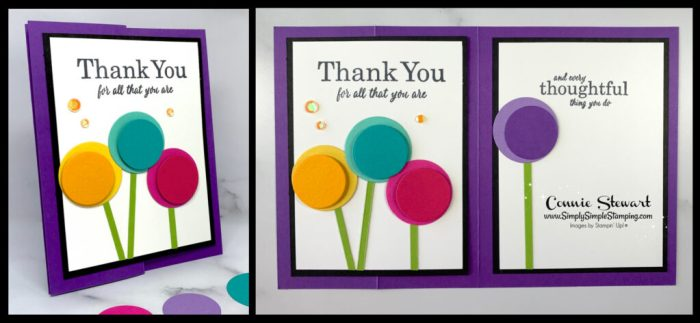 Circle die cuts are the 'star' of this handmade thank you card.