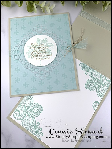 This easy to make card features soft blue colors and a square vellum doily. I also stamped the inside of the card.