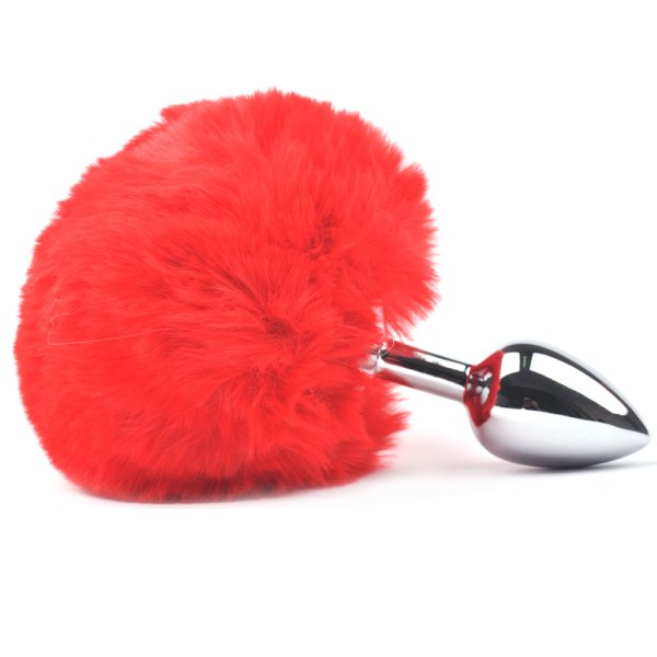 Red cosplay anal plug with bunny tail