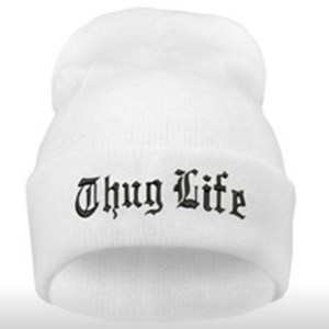 Thug Life White Knit Beanie