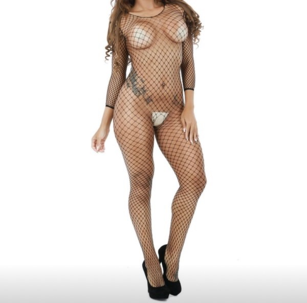 Black fishnet bodysuit front view
