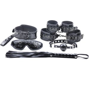 Simply Sinful Black 6 Piece Kinky Couples Kit