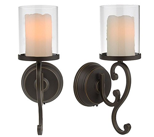 Candle Impressions Flameless Candle Wall Sconces w/ Timer ... on Battery Powered Wall Sconces id=75714