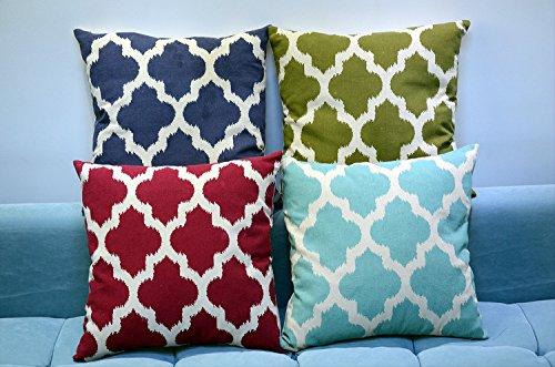 set of 2 simpledecor linen cotton quatrefoil accent decorative throw pillow covers sofa chair geometric cushion
