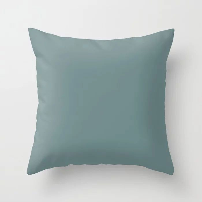 Cool Tropical Blue-Green Solid Color Pairs To Benjamin Moore Aegean Teal 2136-40 2021 Color of the Year Throw Pillow