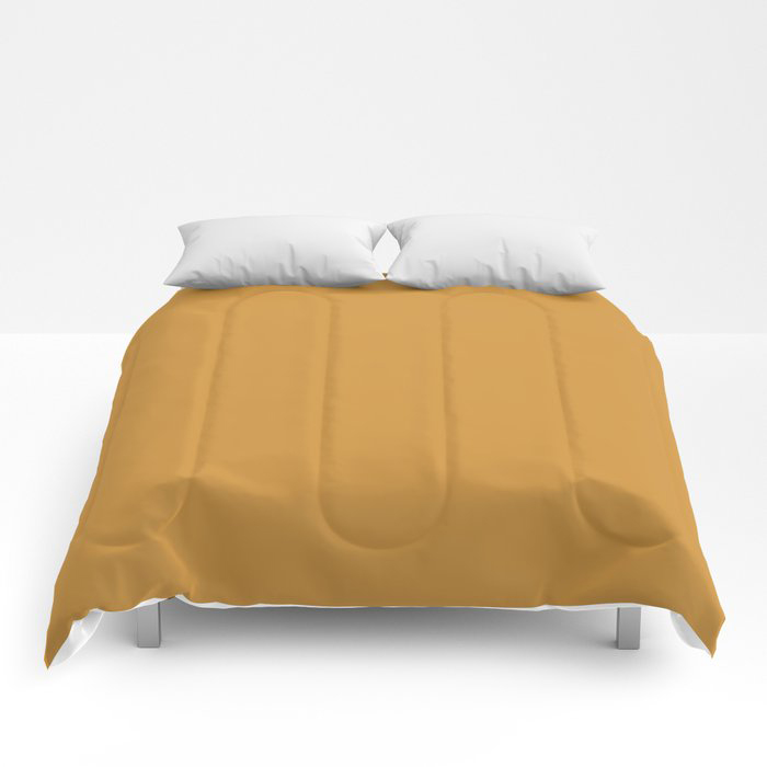 Cosy Deep Mustard Yellow Solid Color Pairs Farrow and Balls 2021 Color of the Year India Yellow 66 Comforters