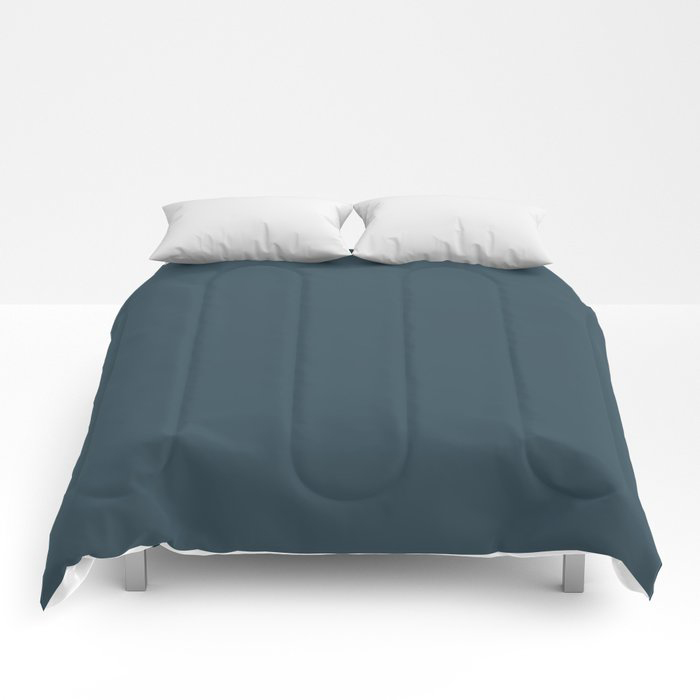 Dark Blue Grey Solid Color Pairs To Behr's 2021 Trending Color Nocturne Blue HDC-CL-28 Comforters