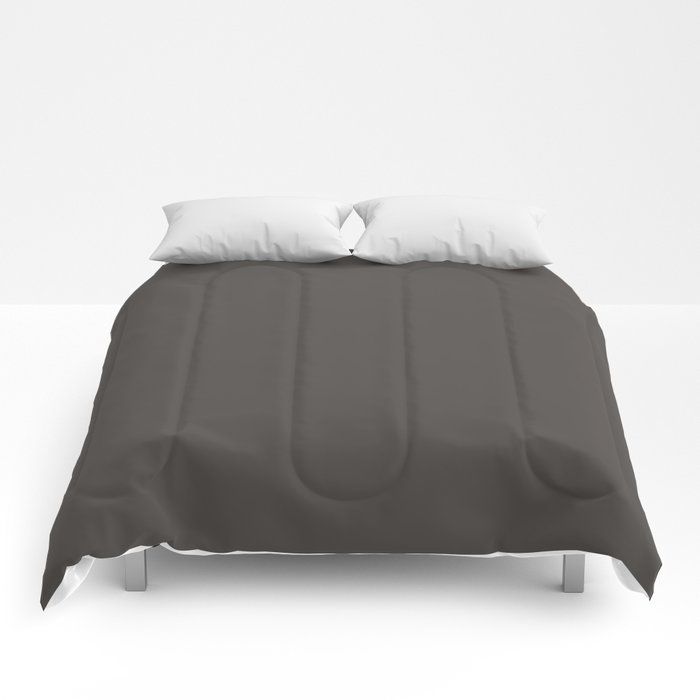 Dark Gray Brown Solid Color Pairs To Farrow and Ball Color of The Year Tanner's Brown No.255 Comforters