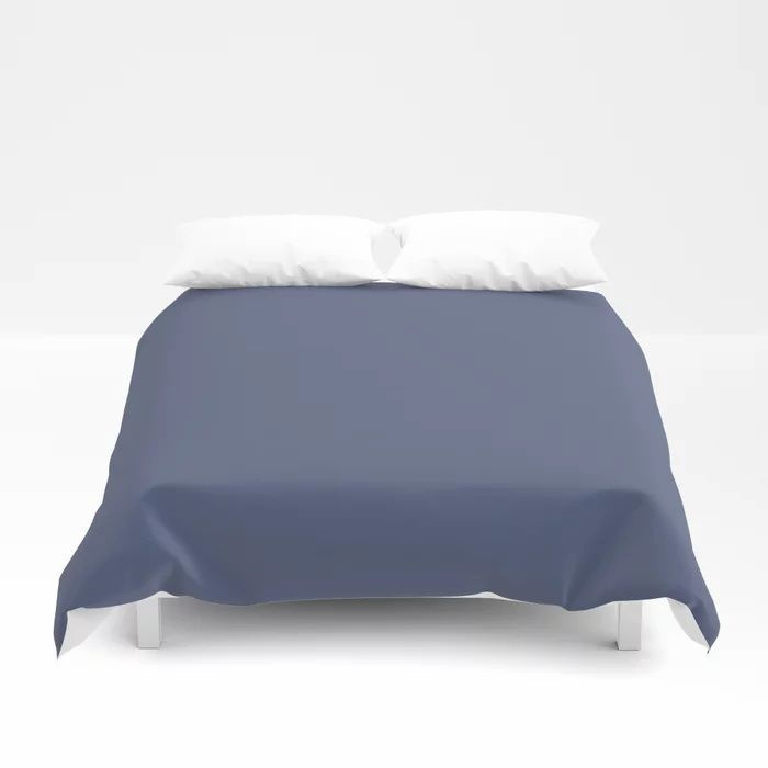 Dark Night Blue Solid Color Pairs Farrow and Ball 2021 Color of the Year Pitch Blue No.220 Duvet Cover
