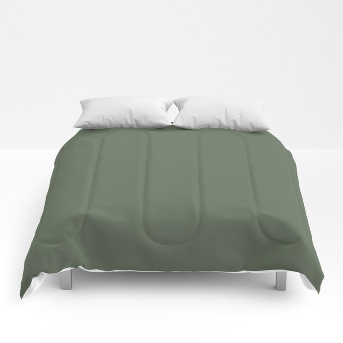 Dark Olive Green Solid Color Behr's 2021 Trending Color Royal Orchard PPU11-01 Comforters