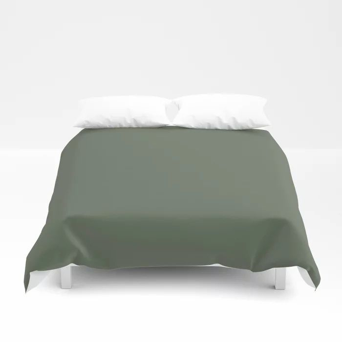 Dark Olive Green Solid Color Behr's 2021 Trending Color Royal Orchard PPU11-01 Duvet Cover