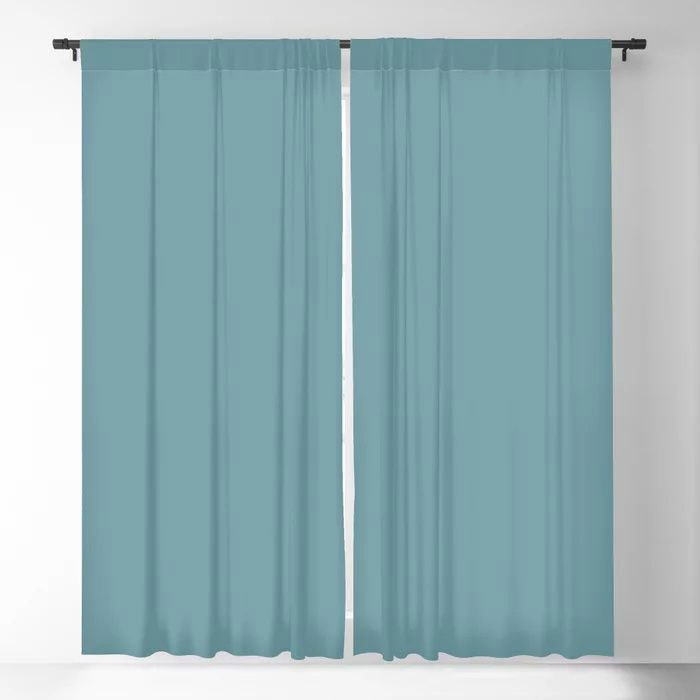 Dark Pastel Blue Gray Solid Color Behr's 2021 Trending Color Voyage PPU13-07 Blackout Curtain