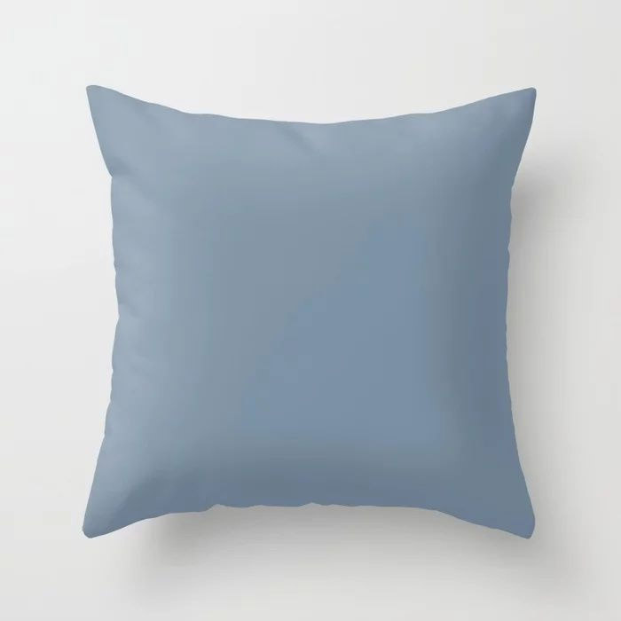 Dark Pastel Blue Solid Color Pairs To Behr's 2021 Trending Color Jean Jacket Blue S510-4 Throw Pillow