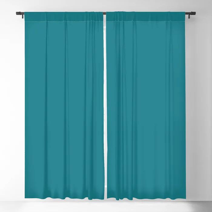 Dark Turquoise Solid Color Pairs To Behr's 2021 Trending Color Caribe PPU13-01 Blackout Curtain
