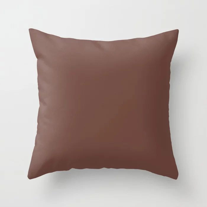 Dark Wine Solid Color Pairs Farrow and Ball 2021 Color of the Year Deep Reddish Brown No.W101 Throw Pillow