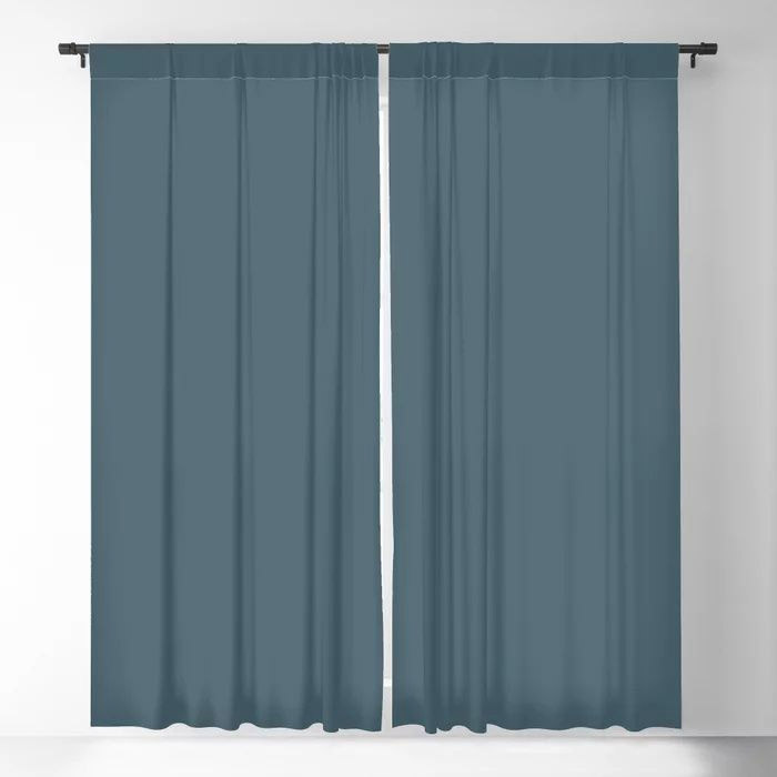Deep Aquamarine Blue-Green Solid Color Pairs Farrow & Ball 2021 Color of the Year Stiffkey Blue 281 Blackout Curtain