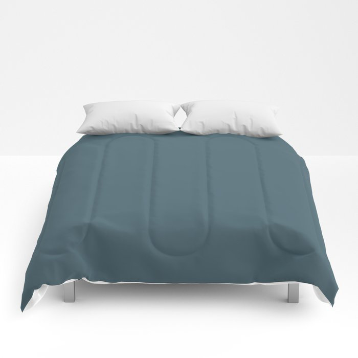 Deep Aquamarine Blue-Green Solid Color Pairs Farrow & Ball 2021 Color of the Year Stiffkey Blue 281 Comforters