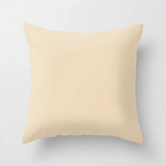 Delicate Pastel Peach Solid Color Pairs To Valspars 2021 Color of the Year Soft Candlelight 3005-6C Throw Pillow
