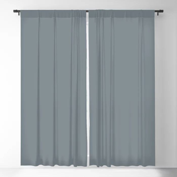 Mid Tone Slate Blue Grey Solid Color Pairs To Valspars 2021 Color of the Year Academy Gray 5001-2A Blackout Curtain