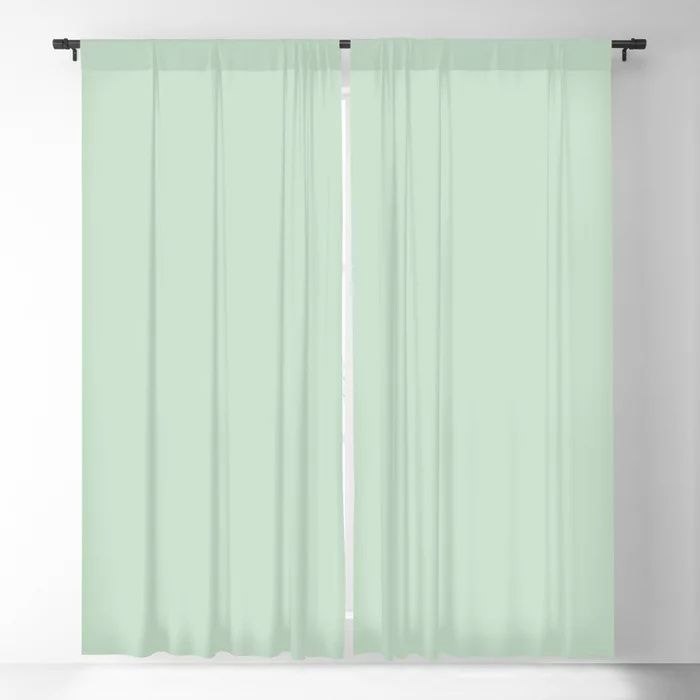 Minty Fresh Green Solid Color Pairs To Behr's 2021 trending color Wishful Green M410-2 Blackout Curtain
