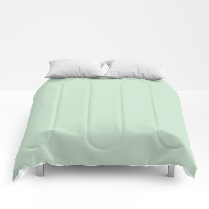 Minty Fresh Green Solid Color Pairs To Behr's 2021 trending color Wishful Green M410-2 Comforters