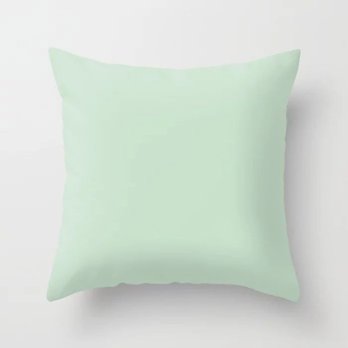 Minty Fresh Green Solid Color Pairs To Behr's 2021 trending color Wishful Green M410-2 Throw Pillow