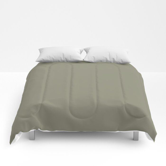 Pigeon Gray Green Solid Color Pairs Farrow and Ball 2021 Color of the Year Treron 292 Comforters