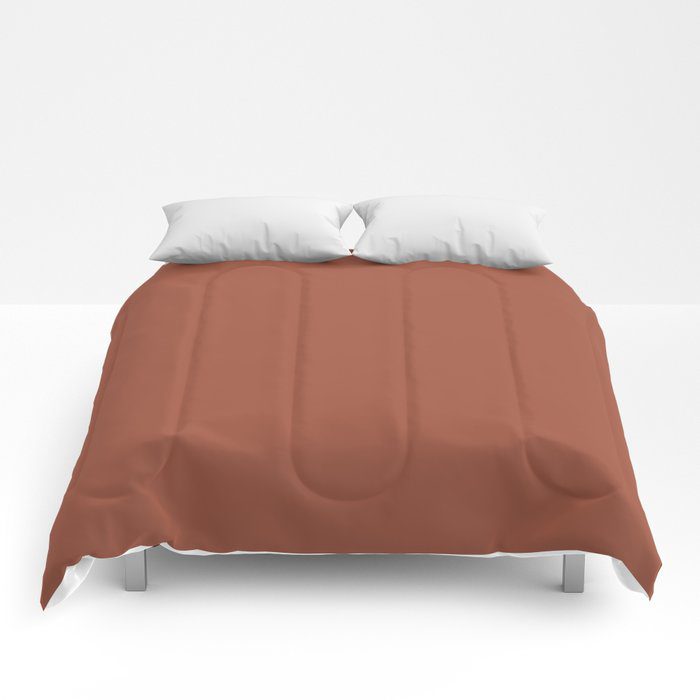 Red Clay Brown Solid Color Behr's 2021 Trending Color Kalahari Sunset MQ1-25 Comforters