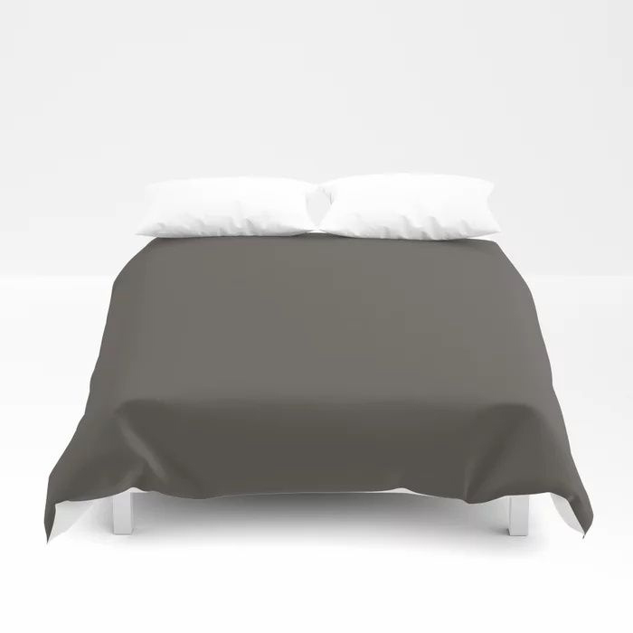 Root Brown Grey Solid Color Sherwin Williams 2021 Color of the Year Urbane Bronze SW 7048 Duvet Cover