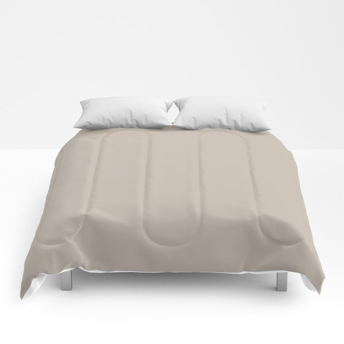 Soft Beige Brown Solid Color Pairs To Valspars 2021 Color of the Year Gallery Grey 2006-10B Comforters