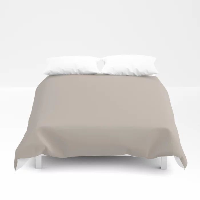 Soft Beige Brown Solid Color Pairs To Valspars 2021 Color of the Year Gallery Grey 2006-10B Duvet Cover