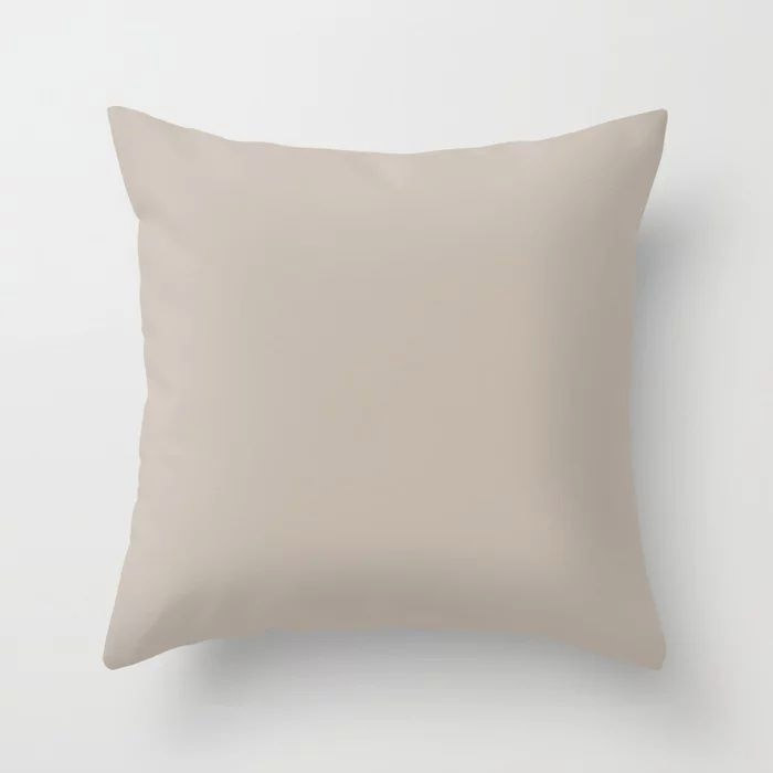 Soft Beige Brown Solid Color Pairs To Valspars 2021 Color of the Year Gallery Grey 2006-10B Throw Pillow