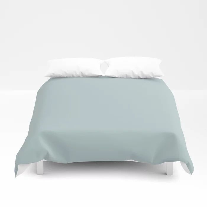 Soft Pastel Blue Solid Color Pairs To Behr's 2021 Trending Color Dayflower MQ3-54 Duvet Cover