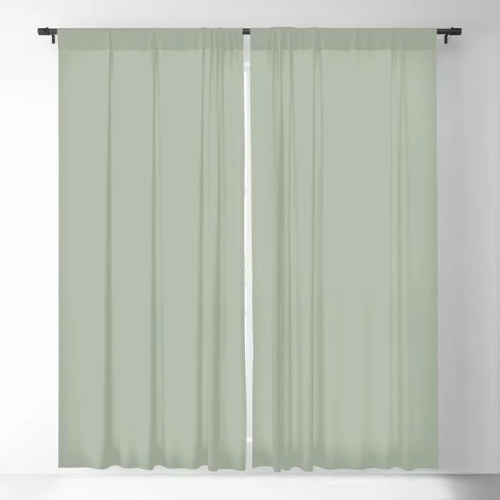 Soft Pastel Sage Green Gray Solid Color Pairs To Behr's 2021 Trending Color Jojoba N390-3 Blackout Curtain