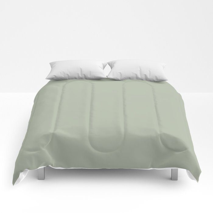 Soft Pastel Sage Green Gray Solid Color Pairs To Behr's 2021 Trending Color Jojoba N390-3 Comforters