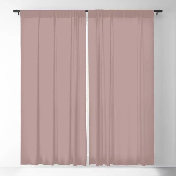 Softened Mauve Pink Solid Color Pairs To Valspars 2021 Color of the Year Cherry Taupe 1005-10A Blackout Curtain