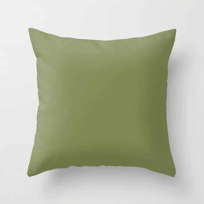 Summer Exploration Green Solid Color Pairs Farrow and Ball 2021 Color of the Year Sap Green W56 Throw Pillow