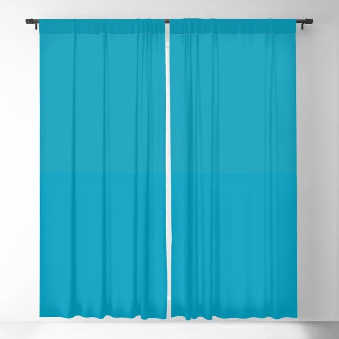 Teal / Turquoise / Blue Green Solid Color Pairs to Coloro 2021 Trending Color AI Aqua 098-59-30 Blackout Curtain